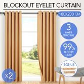 2x Blockout Curtain-180cm x 230cm-Latte