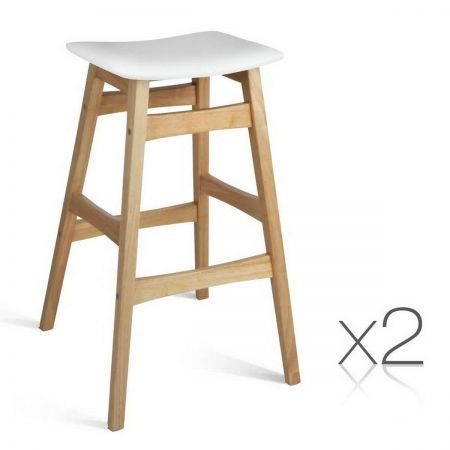 Set of 2 Rubberwood Bar Stools - White