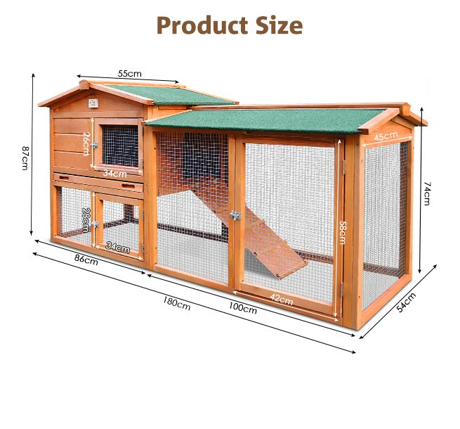 1.8M Wooden Chicken Coop Rabbit Hutch Guinea Pig Ferret Cage Hen House 2 Storey Run