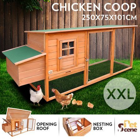 2.5M Wooden Chicken Coop Rabbit Hutch Guinea Pig Ferret Cage Hen House 2 Storey Run With Nesting Box