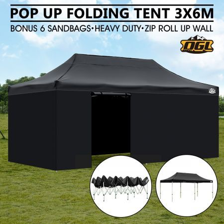 OGL 3x6M Pop Up Outdoor Folding Marquee Gazebo Party Tent Black