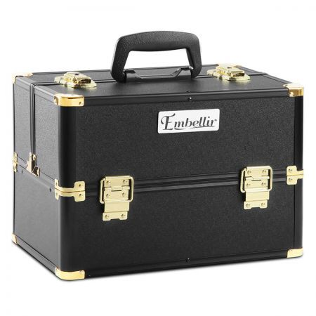 Professional Make Up Cosmetic Beauty Case - Black & Gold