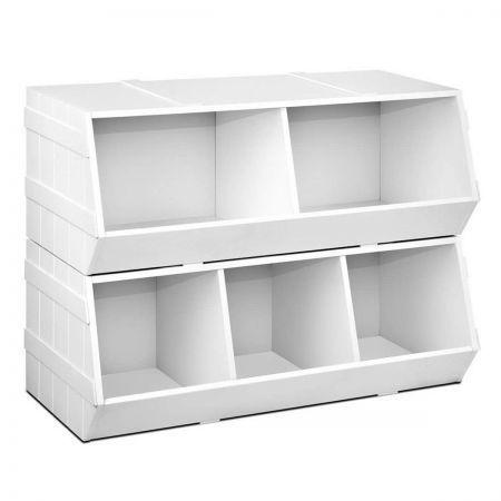 Kids Toy Box Stackable Storage Rack Unit Bookshelf
