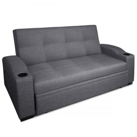 3 seater pull out sofa bed lounge couch grey crazy sales. Black Bedroom Furniture Sets. Home Design Ideas
