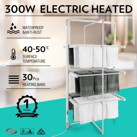 300W 3-Tier Heated Electric Clothes Towel Drying Rack Foldable