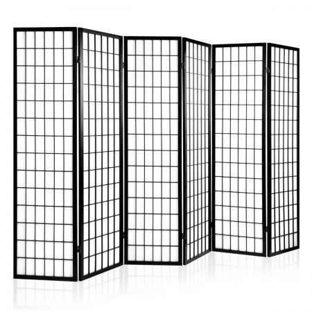 Solid Wooden Timber 6 Panel Room Divider 261cm Wide   Black