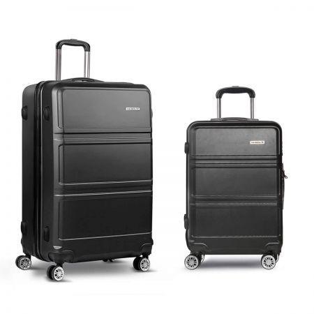 Wanderlite Set of 2 Hard Shell Travel Luggage with TSA Lock - Black