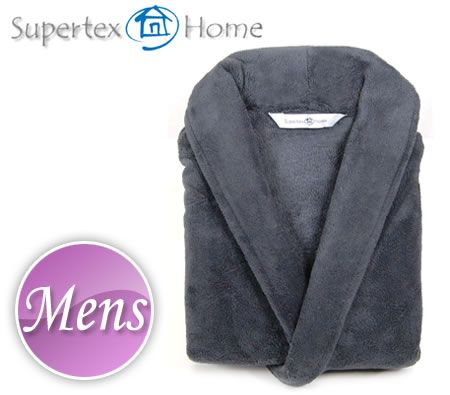 Supertex Home Men Plush Microfibre Bath Robe - Charcoal - One Size Fits All