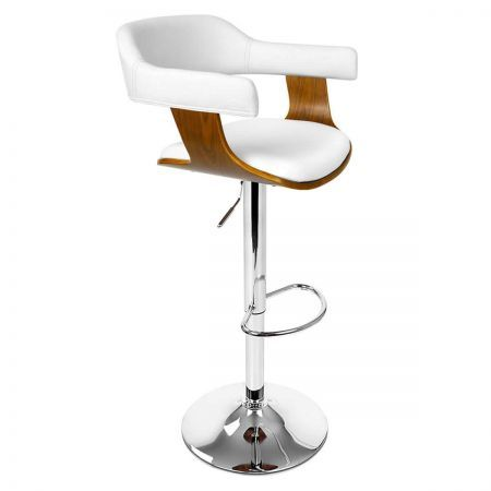 Wooden Bar Stool Dining Chair with Foam Padded PU Leather - White