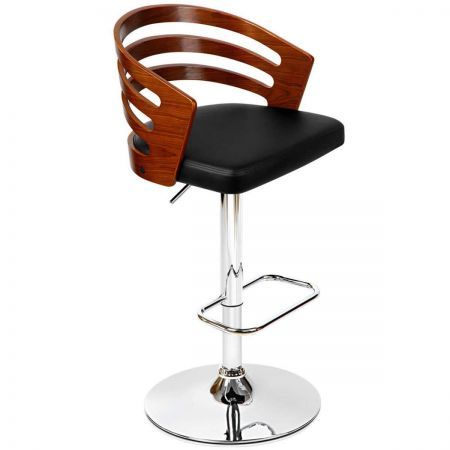 360 Degree Swivel Wooden PU Leather Bar Stool