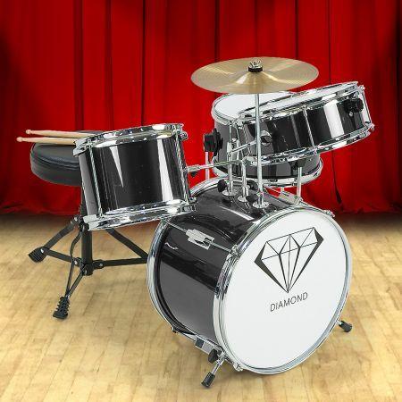 Children's 4pc Diamond Drum Kit Set - Black