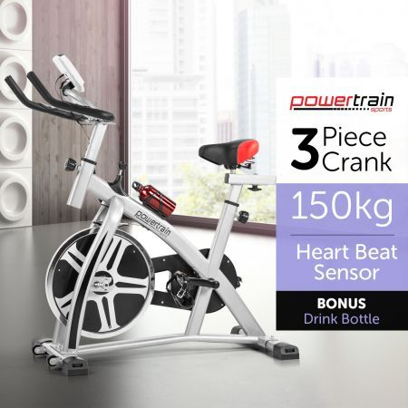 PowerTrain Home Gym Fitness Heavy Flywheel Exercise Spin Bike - Silver
