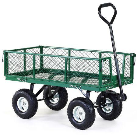 Heavy Duty Folding Garden Cart Trolley With Mesh Liner