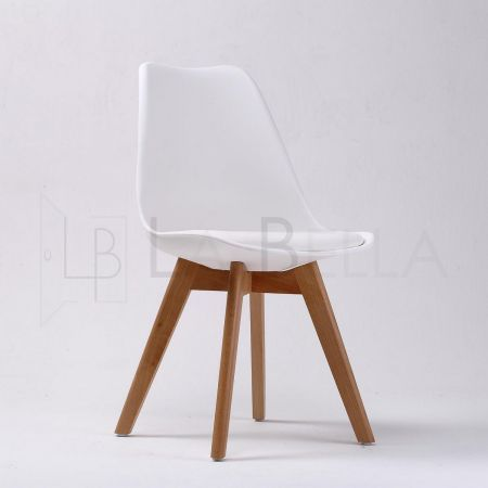 2x La Bella EAMES Replica Padded Seat DSW Dining Chair - White