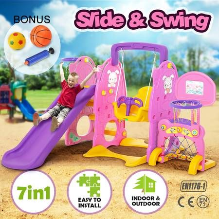 Colorful 7 in 1 Kids Playset with Swing & Slide Basketball Toys