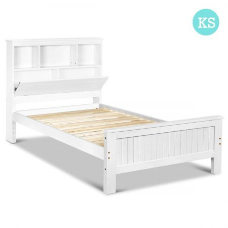King Single Wooden Bedframe With Storage Shelf Crazy Sales