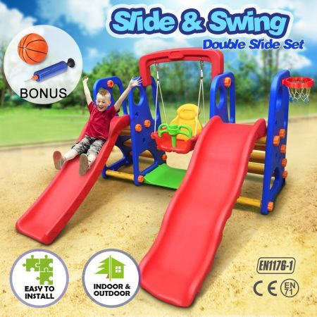 Kids Dual Slide and Swing Basketball Set Outdoor Play Center