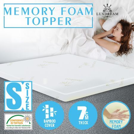 7cm memory foam mattress topper with bamboo topper cover. Black Bedroom Furniture Sets. Home Design Ideas