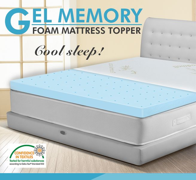 Double Bed Mattress Topper Cool Gel Memory Foam With