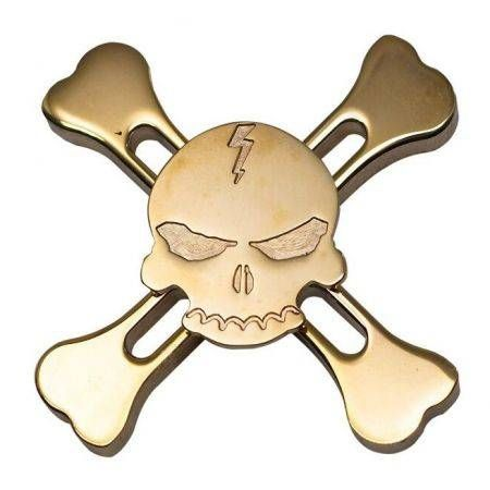Skull Torqbar Brass Fidget Hand Spinner Tri-spinner For Adult To Reduce Pressure
