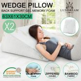 2X Cool Gel Memory Foam Wedge Pillow Bamboo Fiber Cushion Back Support Cover