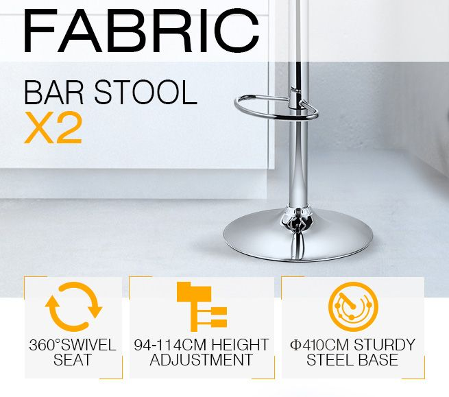 2x New Fabric Bar Stool Kitchen Dining Chair Barstool Gas  : 144957939637extra from www.crazysales.com.au size 655 x 579 jpeg 96kB