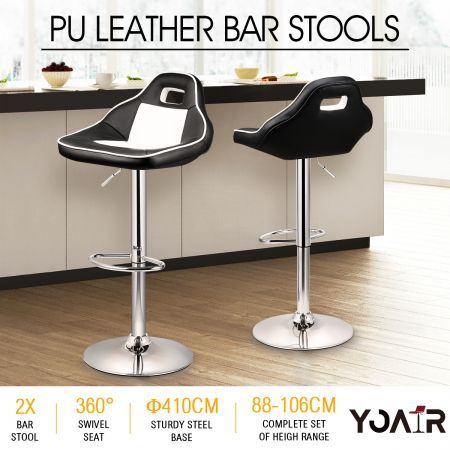2x New Large seat  PU Leather Bar Stools Gas Lift Kitchen Dining Chair Car Racing Style