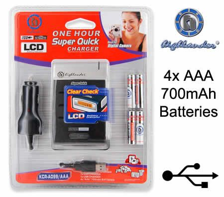 Highlander Quick Portable USB Car Battery Charger with LCD Indicator with 4x AAA Rechargeable Batteries