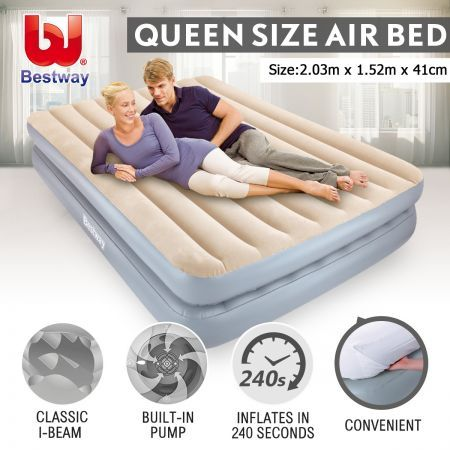 Bestway SleepLux Inflatable Mattress with Built-in Pump - Queen Air Bed