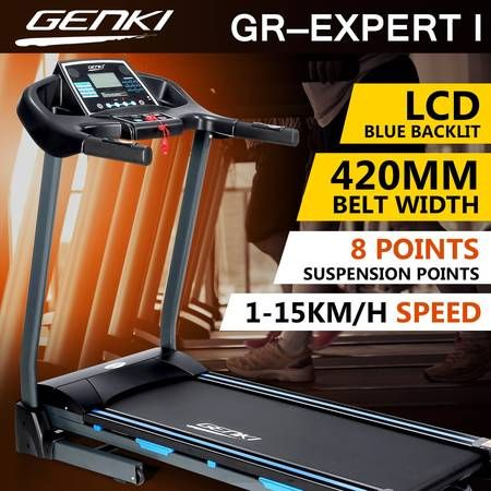 Genki 2HP Treadmill Gym Equipment with 8 Points Silica Gel Suspension