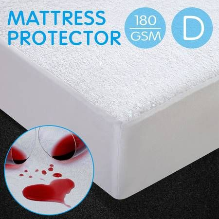 Terry Cotton PU Waterproof Mattress Protector - Double