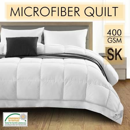 400GSM Microfibre Winter Quilt  Bamboo Fiber Filling Super King Size White