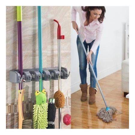 Kitchen Wall Mounted Mop Holder Kitchen Storage Mop Brush
