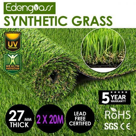 Edengrass 2Mx20M 27mm Artificial Grass Synthetic Turf Fake Lawn