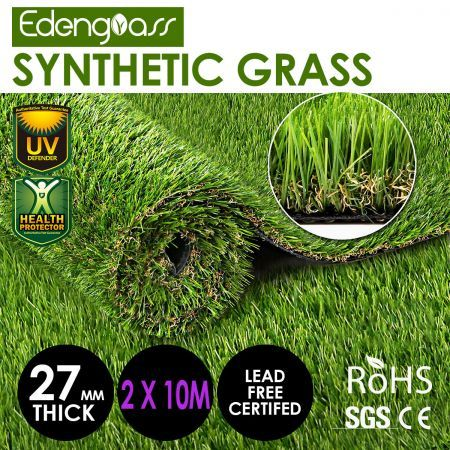 Edengrass 2Mx10M Artificial Grass 27mm Synthetic Turf Fake Lawn