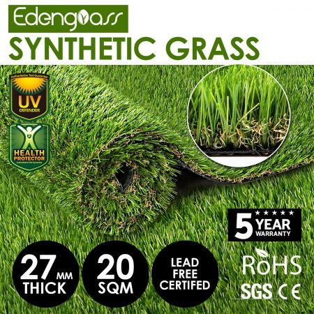 Edengrass 20SQM 27mm Artificial Grass Synthetic Turf Fake Lawn