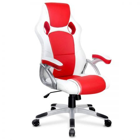 Premium PU Leather Racing Office Chair - White & Red