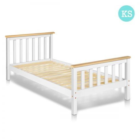 Pine Wood King Single Size Bed Frame White Crazy Sales