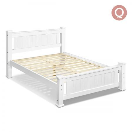 Queen Wooden Bed Frame - White