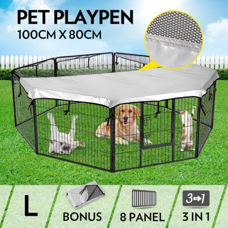 8-Panel Pet Playpen Dog Cat Enclosure with Fabric Cover 100x80CM/ Panel - L