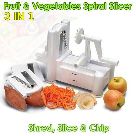 3 In 1 Vegetable Fruit Spiral Slicer Raw Food Spiralizer Peeler