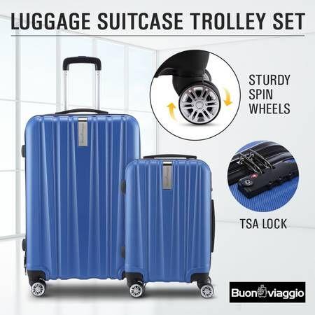 2Pc Hard Shell Luggage Suitcase Set-Blue With TSA Lock Lightweight
