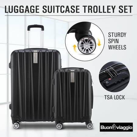2Pc Hard Shell Luggage Suitcase Set-Black With TSA Lock Lightweight