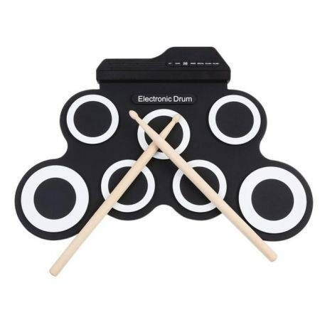 Professional 7 Pad Digital Portable Collapsible Silicone Musical Roll-up Electronic Drum Pad K Set with Stick