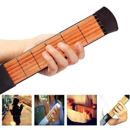 Portable Pocket Guitar 6 Fret Model Wooden Practice 6 Strings Guitar Trainer ED
