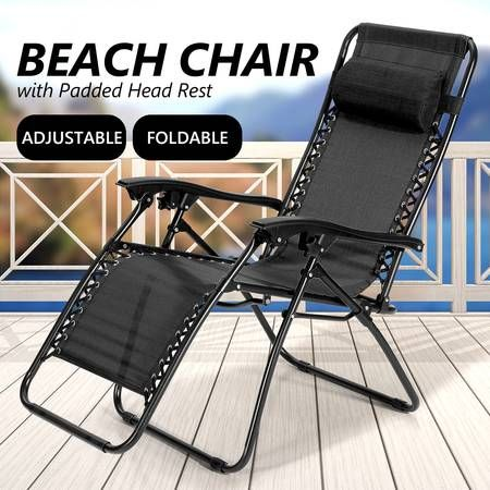 Reclining Chair Zero Gravity Sun Bed Beach Chair - Black