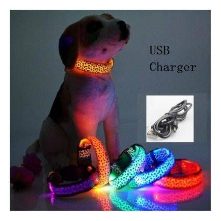 USB Charger Nylon LED Pet Cat Dog Collar Light Night