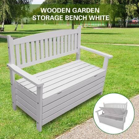 2 Seat Storage Bench Outdoor Wooden Seat Garden Furniture White Crazy Sales