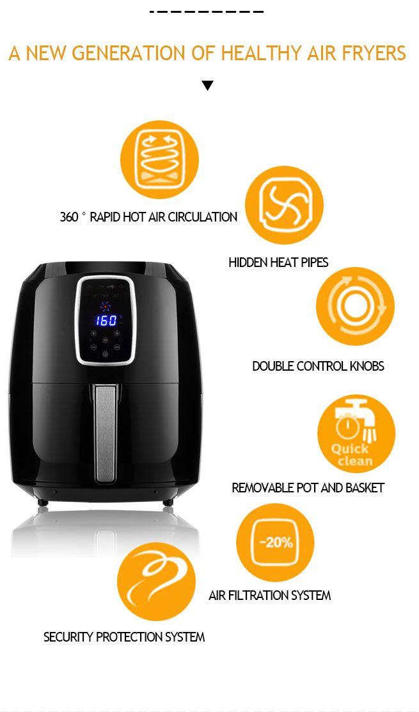 1800w Maxkon 7l Oil Free Digital Xl Air Fryer Turbo Cooker