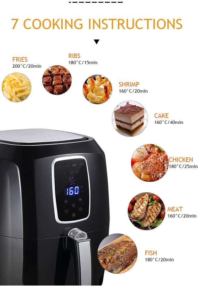 Maxkon Oil Less Air Fryer Cooker Oven 5 5l With 0 60